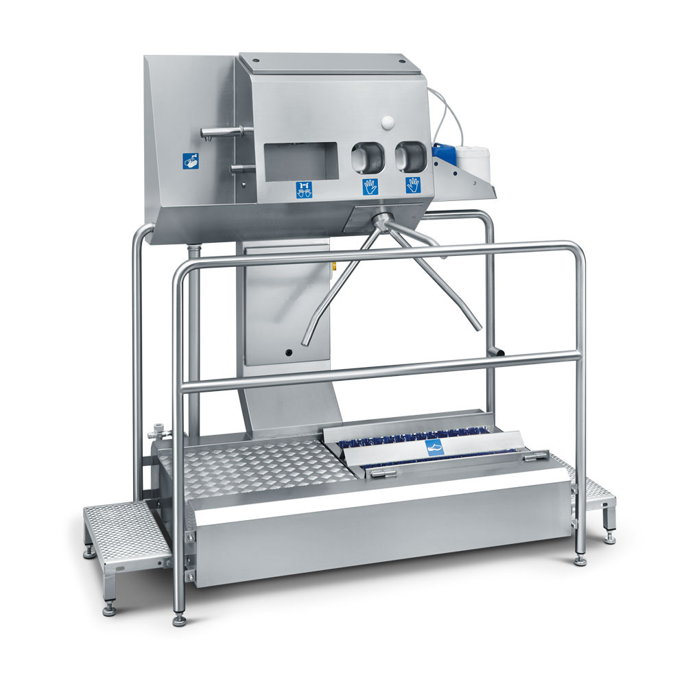 Hygiene station ECO Compact II with pass-through sole cleaner, automatic hand wash and disinfection station