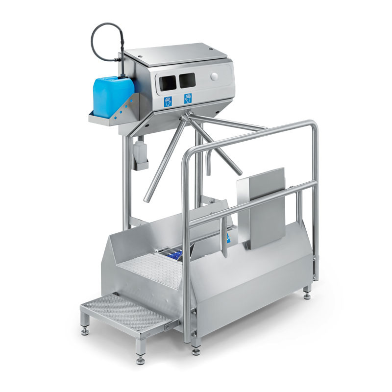 Hygiene station small with mechanical cleaning of soles and automatic hand disinfection