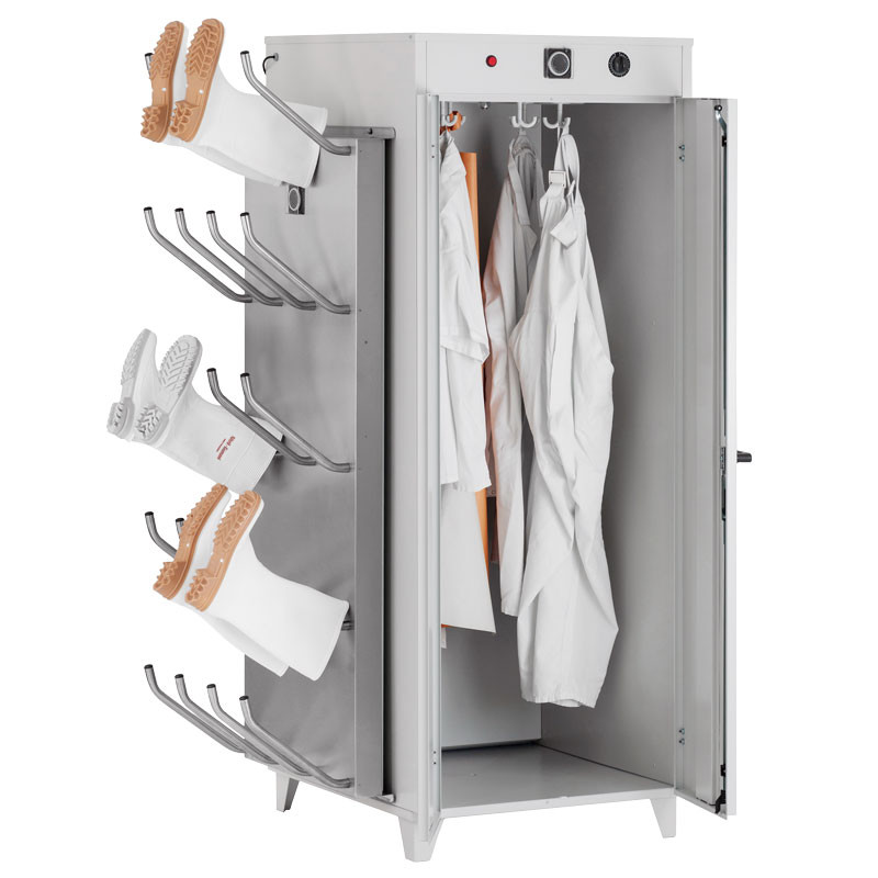 The warm air shoe and clothes drying cabinet is equipped with a warm air shoe dryer mounted on the side
