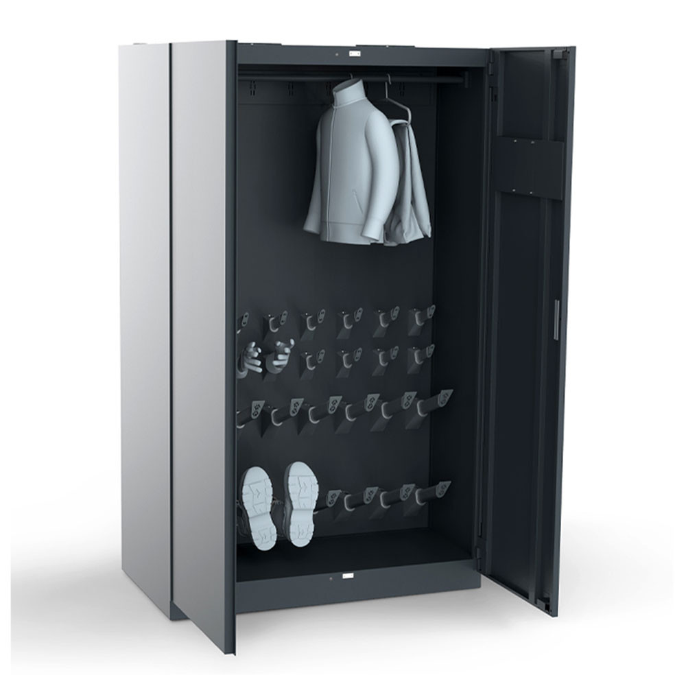 Warm air drying cabinet for hard-to-dry firefighting gear
