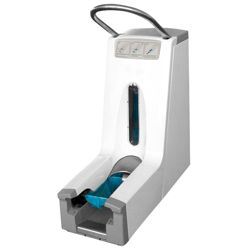 Shoe cover dispenser 200 lets the overshoes to be put on fast and easy - even for first-time or inexperienced users