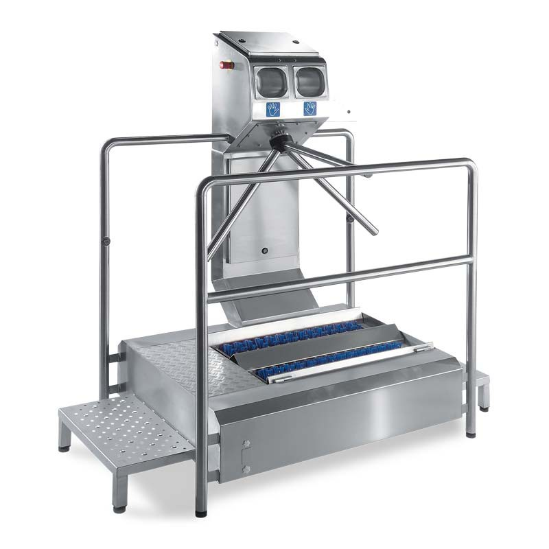 Hygiene station ECO Compact as a cleaning solution with pass-through sole cleaner and automatic hand disinfection
