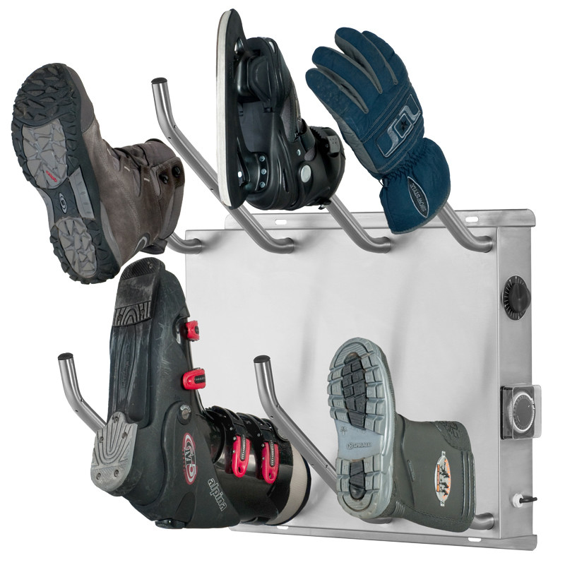 Ski-boot-dryer dries ski boots and other shoes gently and efficiently