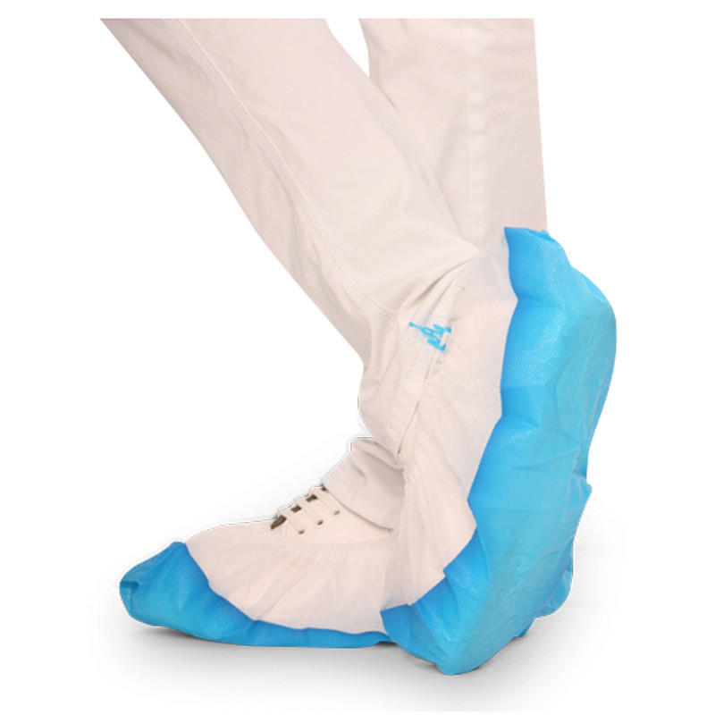 Shoe covers with strong waterproof and slip-resistant sole protect from liquids and are breathable anyway