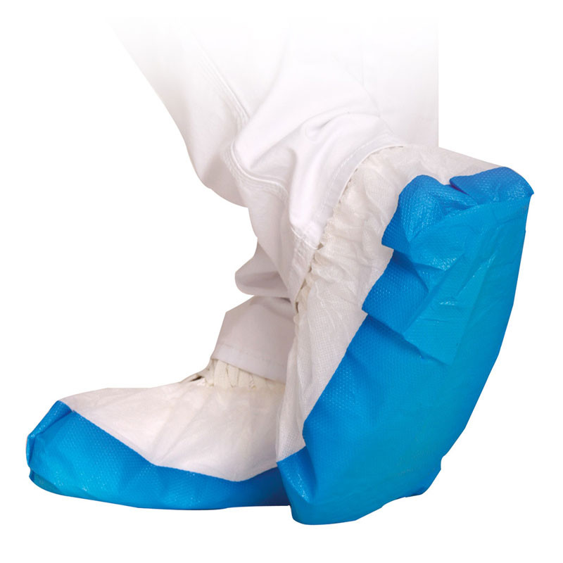 One-way shoe covers with strong CPE sole to assure maximum protection against fluids while still allowing breathing activity through the non-woven upper part